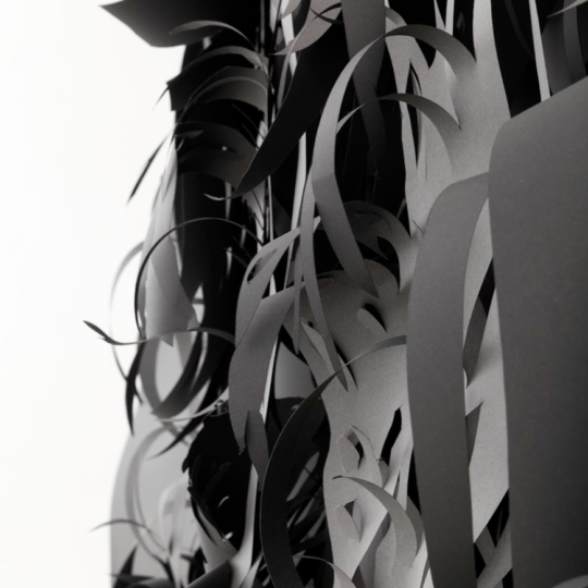 Charlotte McGowan-Griffin, detail from The Origin of the World. 2012, Layered cut paper on steel support, magnets 285 x 250 x 75cm Photo credit: Patricia Sevilla Ciordia